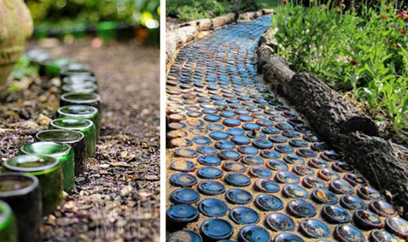 bottled path interesting diy idea implant the bottles in the way and its ready