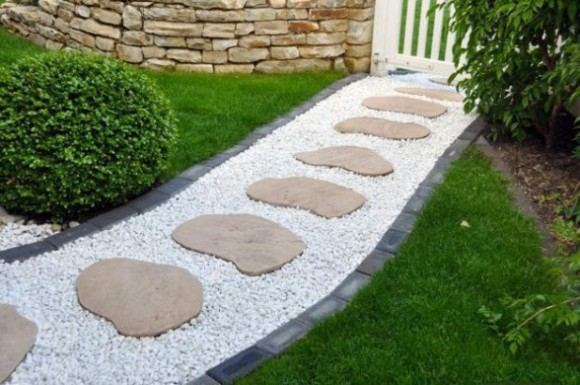 Stone Garden Path Ideas a garden path of stone railroad ties Big Round Stones And White Metal Spread Around It You Can Try This Too
