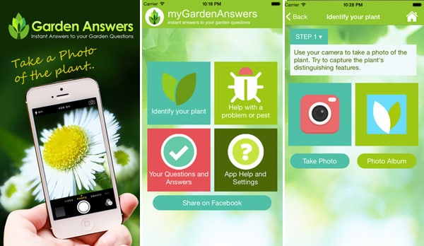 garden answers mobile interface