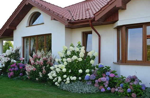 Landscaping with hydrangeas 15 garden design ideas for Easy care shrubs front house