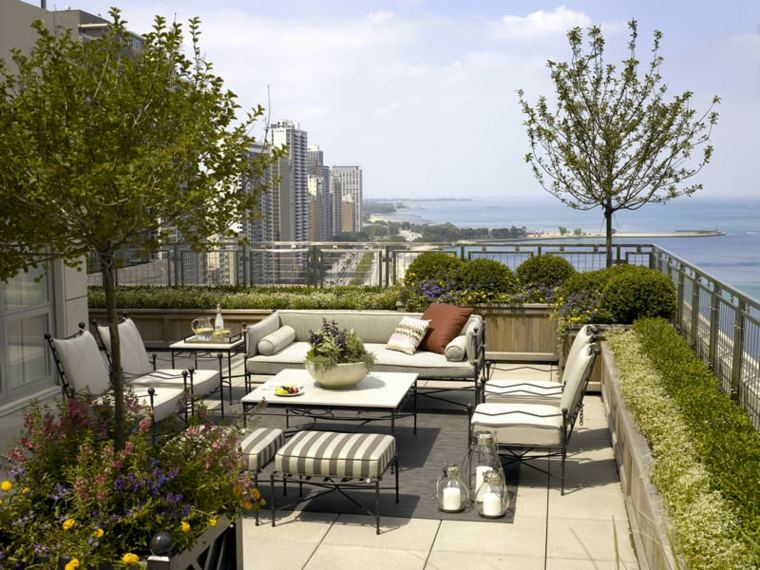 using light colored furniture is a great idea to follow on terraces because light colored furniture dont heat up early