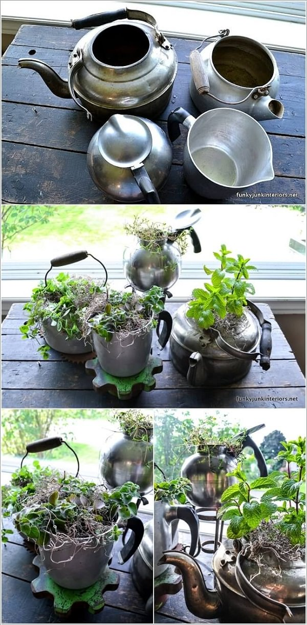 Give A Second Life To Your Old Metal Boiler Or Other Kitchen Utensils As A  Planter For Your Kitchen Herb Garden.