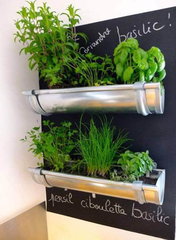 Repurpose Rain Gutters Into An Easy Indoor Herb Garden
