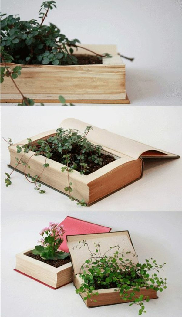 This DIY Book Planter Is Cool To Grow Plants. You Can Find Complete  Tutorial Here.