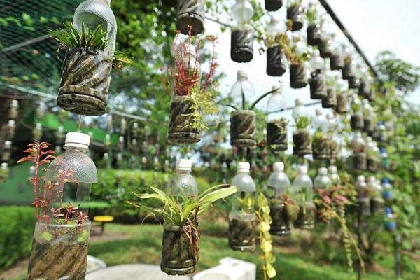 Plastic Bottles Hanging On Net