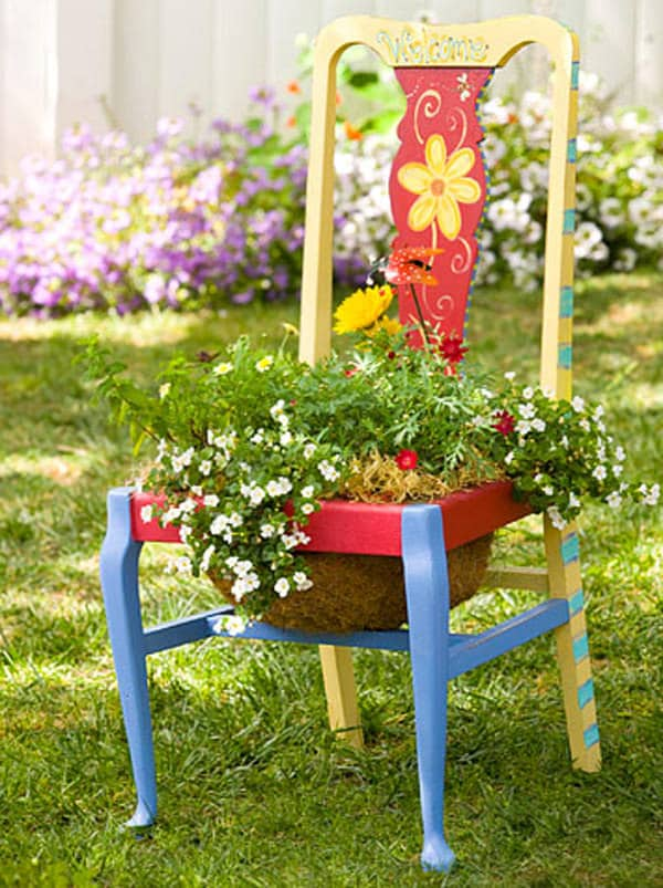 11. Garden Chair Planters Decorating Ideas