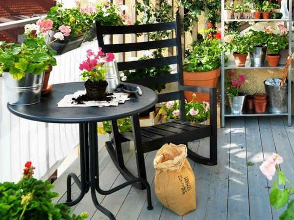 Small Balcony Design Ideas Flowerpots Garden Furniture Rocking