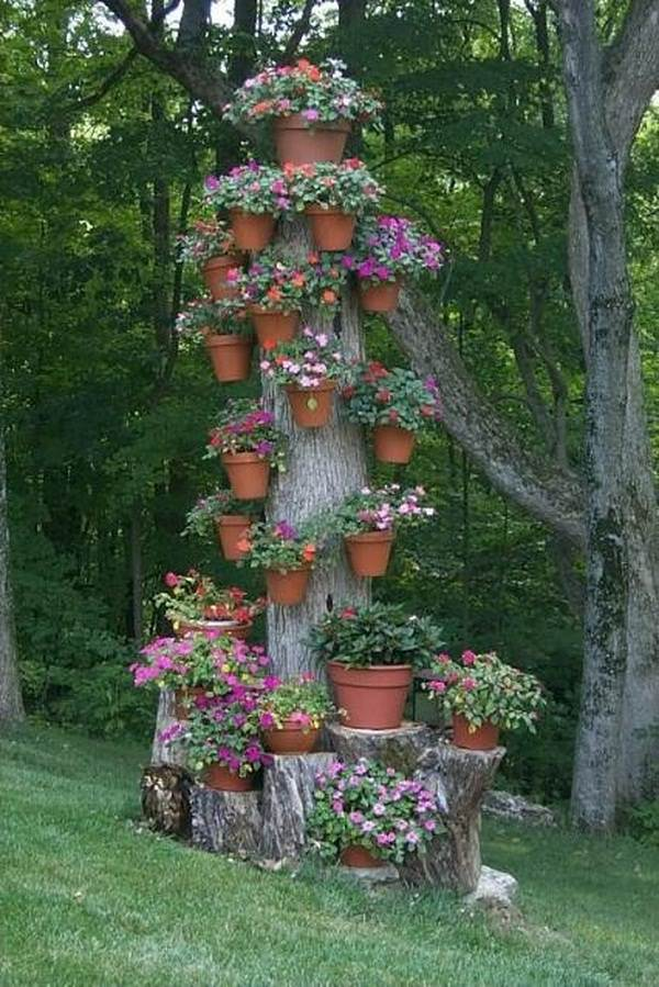if you dont want to make a planter save yourself from labor by making a tree stump pot stand if youre not satisfied with the natural looks and to