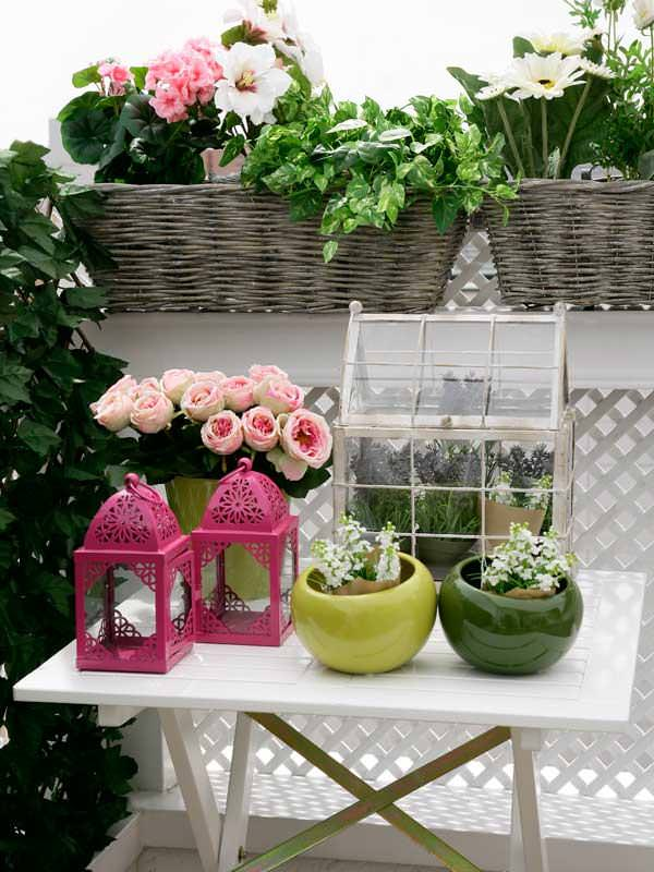 accesories on flower balcony garden - Flowers For Home Garden