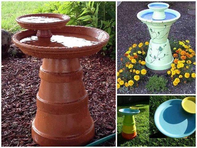 Beau Clay Pot Birdbath
