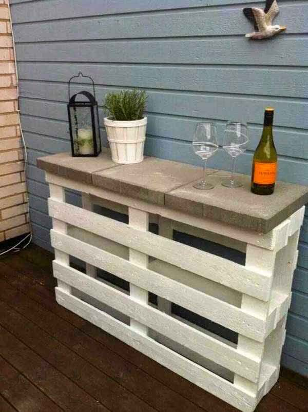 then lay them alternatively beside a wall and put two or three concrete cubes over them to get a table like appearance simple and easy outdoor furniture - How To Make Garden Furniture Out Of Pallets