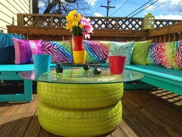 garden table made of old tires