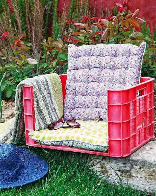 a garden armchair made of plastic fruit crates easy inexpensive and bizarre heres a tutorial for you - Garden Furniture Crates