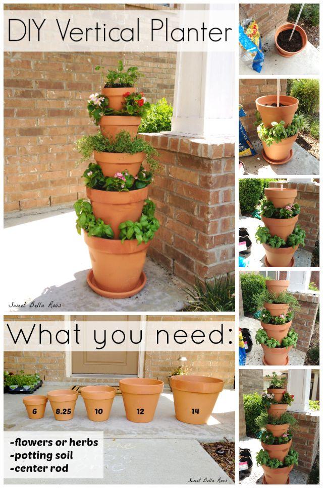 16 sparkling diy clay pot ideas for garden balcony garden web diy vertical herb planter workwithnaturefo