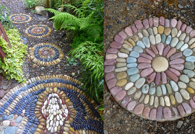 make interesting stepping stones in amazing patterns for your garden from pebbles read everything you need to know on this here in this tutorial