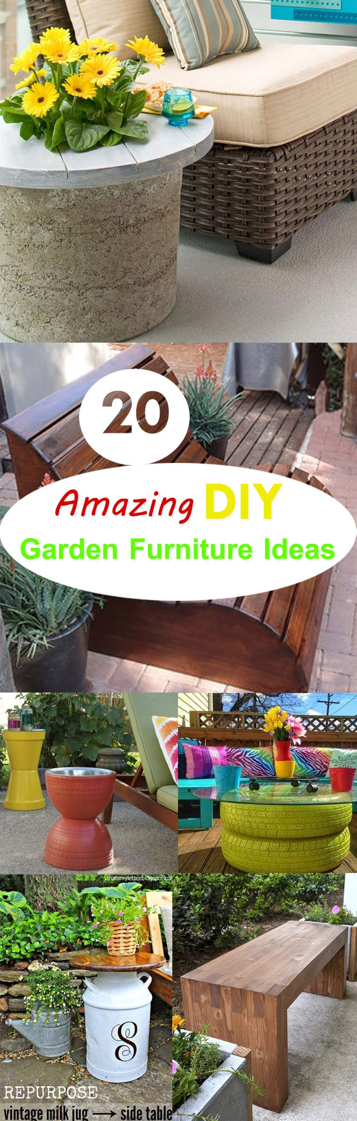 20 amazing diy garden furniture ideas diy patio for Cool outdoor furniture ideas