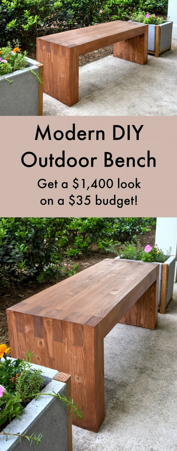This Great Looking Modern Bench Can Be An Amazing Addition To Your Backyard Dont Miss The Step By Guide Available On DIY Candy