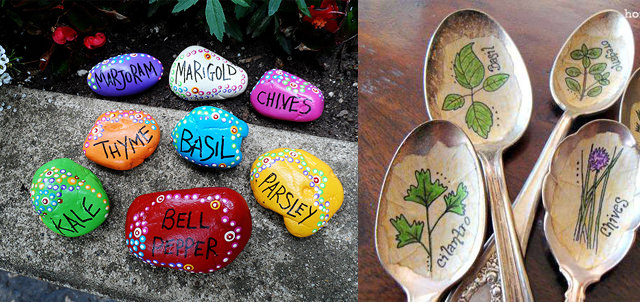 22 diy garden ideas to save money garden pics and tips both of these garden markers are easy to make completely free and look so beautiful in the garden stone marker will add a colorful touch to your garden workwithnaturefo