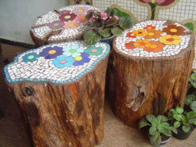 Mosaic Ideas For The Garden 18 brilliant diy mosaic ideas for garden mosaic craft balcony make this mosaic tree stump for your garden you can either sit on them or keep them as a decorative piece workwithnaturefo