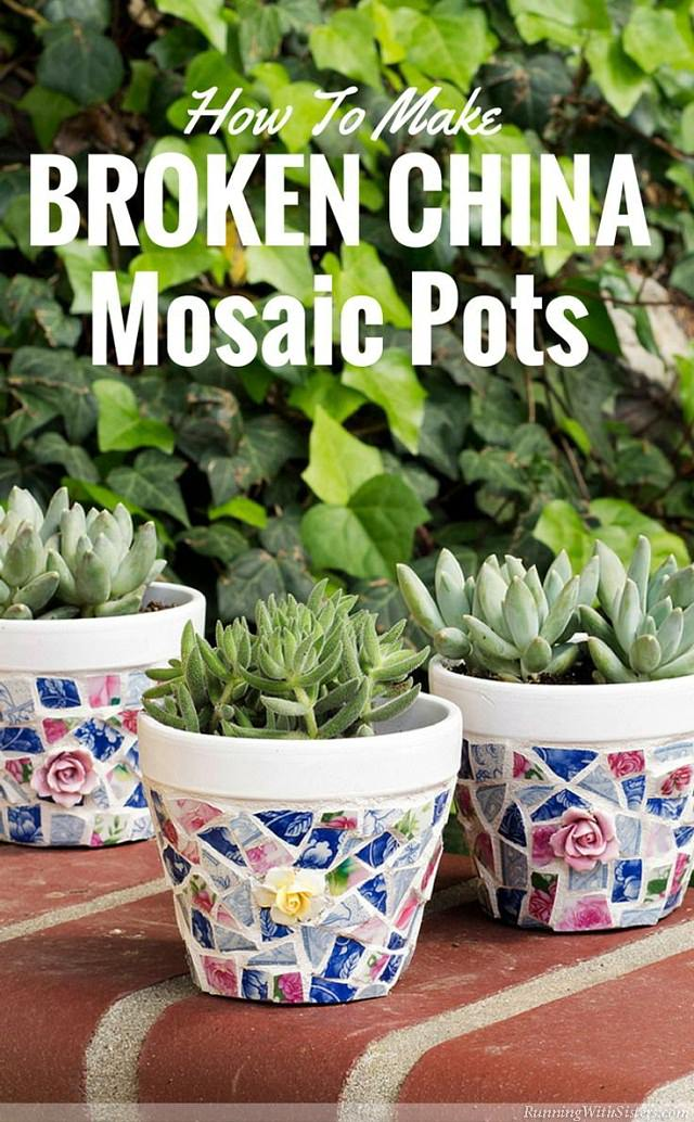 Perfect If You Have Broken China Pieces In Different Colors And Patterns, Use Them  To Make Mosaic Pots.