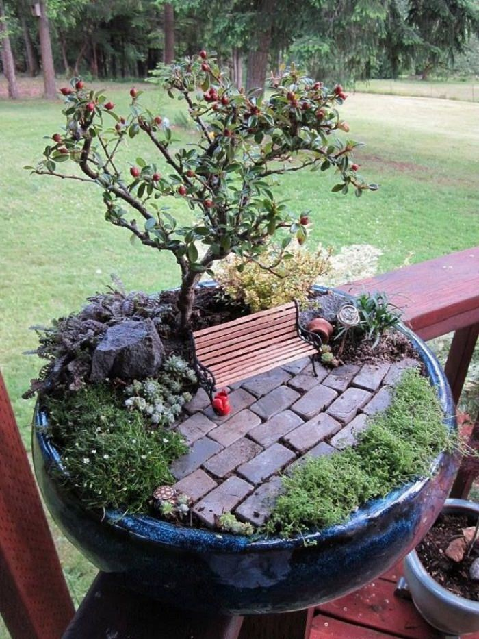 Miniature Garden Around Bonsai Trees