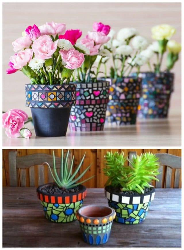 mosaic diy pots terra cotta garden handmade terracotta craft