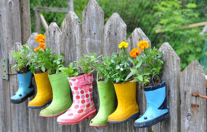 Hanging Boot Garden On The Fence
