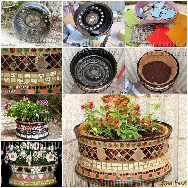 Old Wheel Mosaic Flower Pot