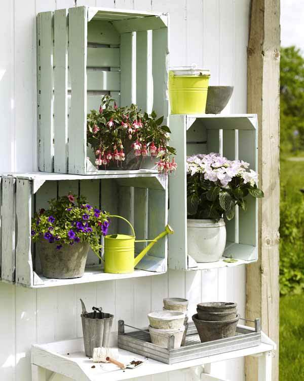 its a new trend recycling the objects wooden crates can be repainted and turned into beautiful and natural shelves its easy and an inexpensive idea