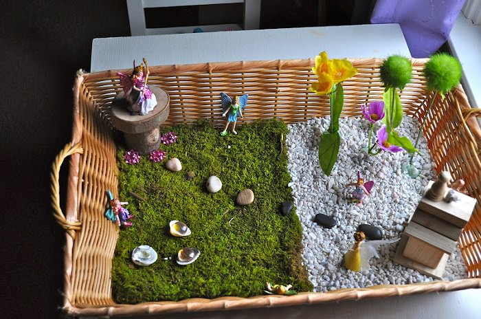 Fairy Garden Ideas Diy fairy garden in a tray or basket Fairy Garden In A Tray Or Basket