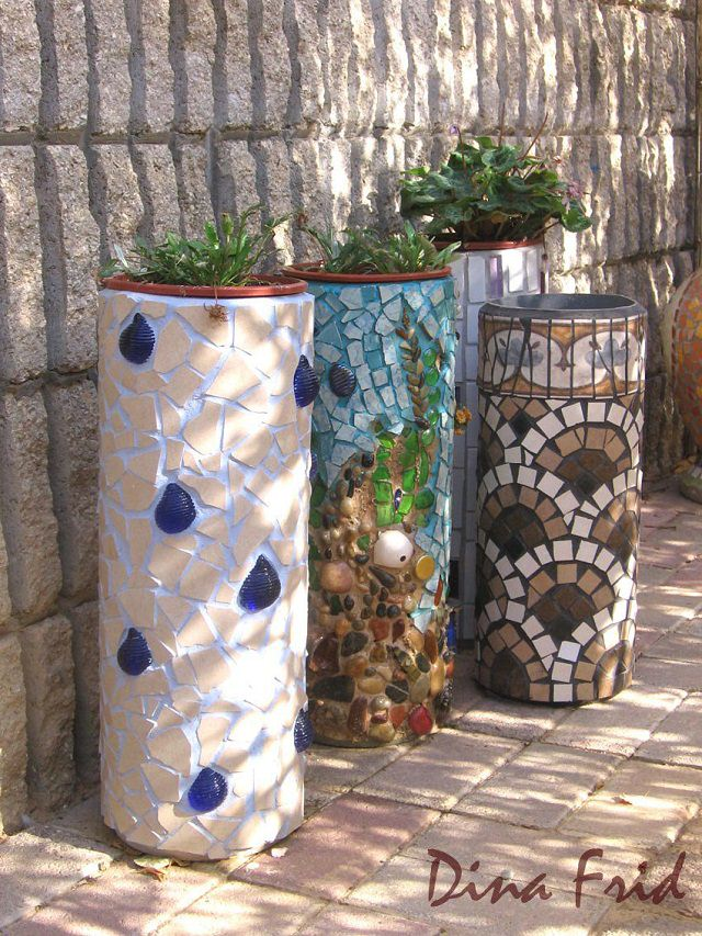 18 brilliant diy mosaic ideas for garden mosaic craft balcony interesting creative and inexpensive idea all you need is a few pvc pipes and tiles pebbles or shells see the diy article here solutioingenieria Gallery