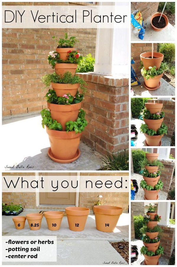 This DIY Stacked Planter Can Spruce Up Any Boring Place Of Your Garden. It  Is Quick And Easy To Make And Only Requires 5 Terracotta Pots Of Different  Sizes, ...