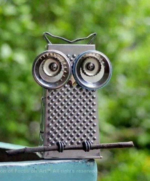 Good How To Make Metal Garden Art Part - 8: This Owl Garden Art Is A Perfect Example Of Making The Most Of What You  Have And Theyu0027re So Cute. Make This Junk Metal Garden Art Owl From Cheese  Grater And ...