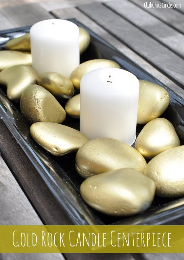 A Unique Way To Liven Up Your Drawing Room Is By Displaying Painted Rocks  And Candles For The Coffee Table Decor. The Golden Shimmer On The Rocks  Looks ...