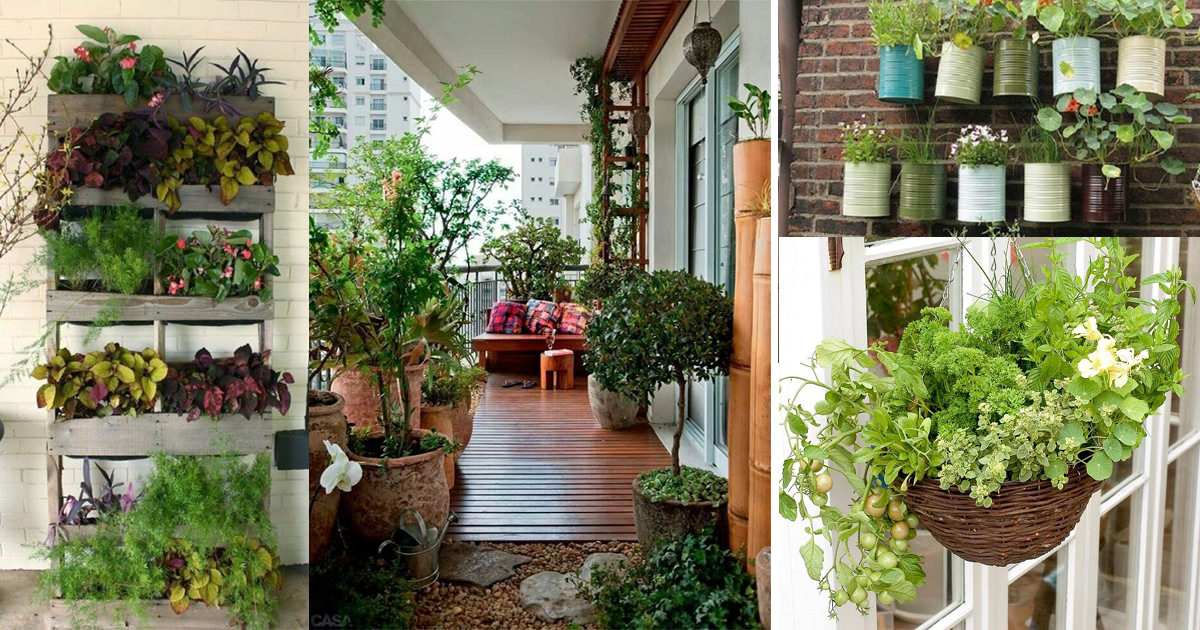 Creative ideas for balcony garden containers balcony for Balcony garden