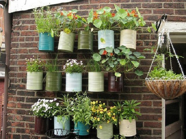 Hanging Baskets Out Of Tin Cans, Painted In Striking Colors. Perfect For  Growing Annuals And Herbs!