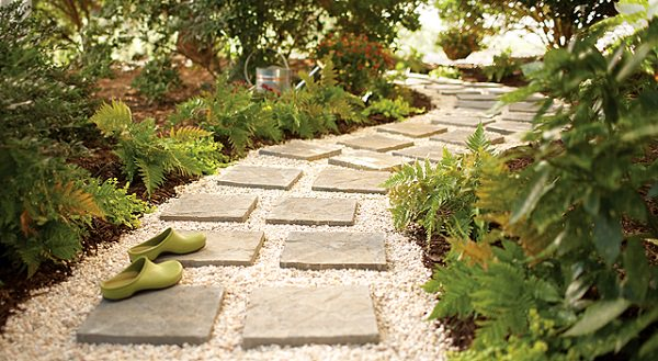 Paver And Pebble Garden Path