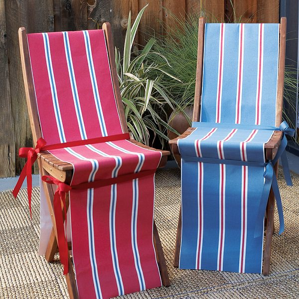 Outdoor Folding Chairs Have Never Been More Relevant Swap Your Usual Seat Covers With Canvas Fabric Painted In Blue Red And White Stripes To Create