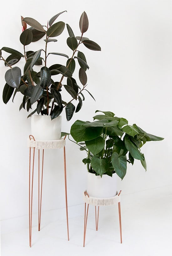 Ordinary And Cheap Plant Stands Transformed By The Makeover, Using Ropes  And Metallic Paint. Visit Sarah Sherman Samuel To Find Out!
