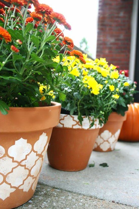 Charm Up The Ordinary Clay Pots Into These DIY Stenciled Pots Using  Painting Stencil. Visit DIY Candy To Know More!