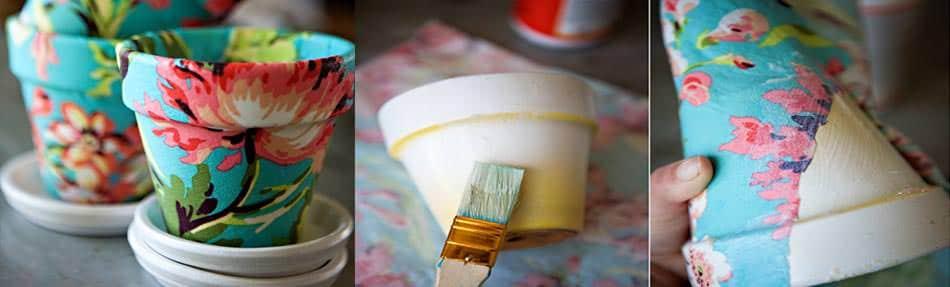 Fabric covered pot DIY