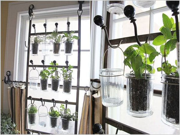 create a hanging herb garden on each window with hooks drinking glasses and metal wire - Hanging Herb Garden