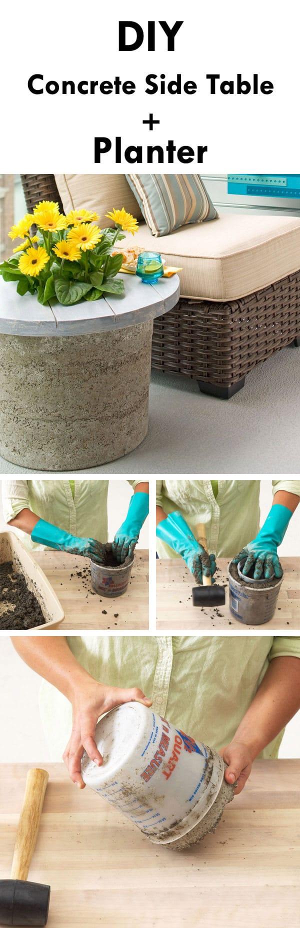 diy Concrete Side Table plus planter