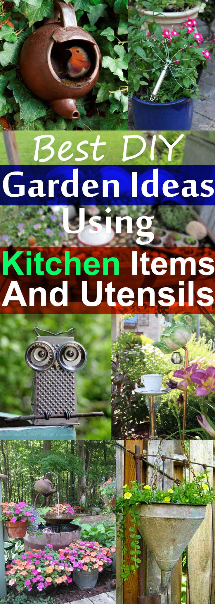 If you have unused kitchen items or old utensils, for example: Tea mug, saucepan etc. do not rush to throw them away-- BEFORE DOING ANYTHING look at these DIY garden ideas from kitchen items and utensils.
