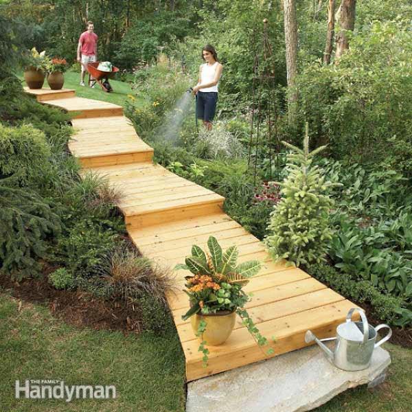 19 DIY Garden Path Ideas With Tutorials | Balcony Garden Web on Wooded Backyard Ideas id=33931