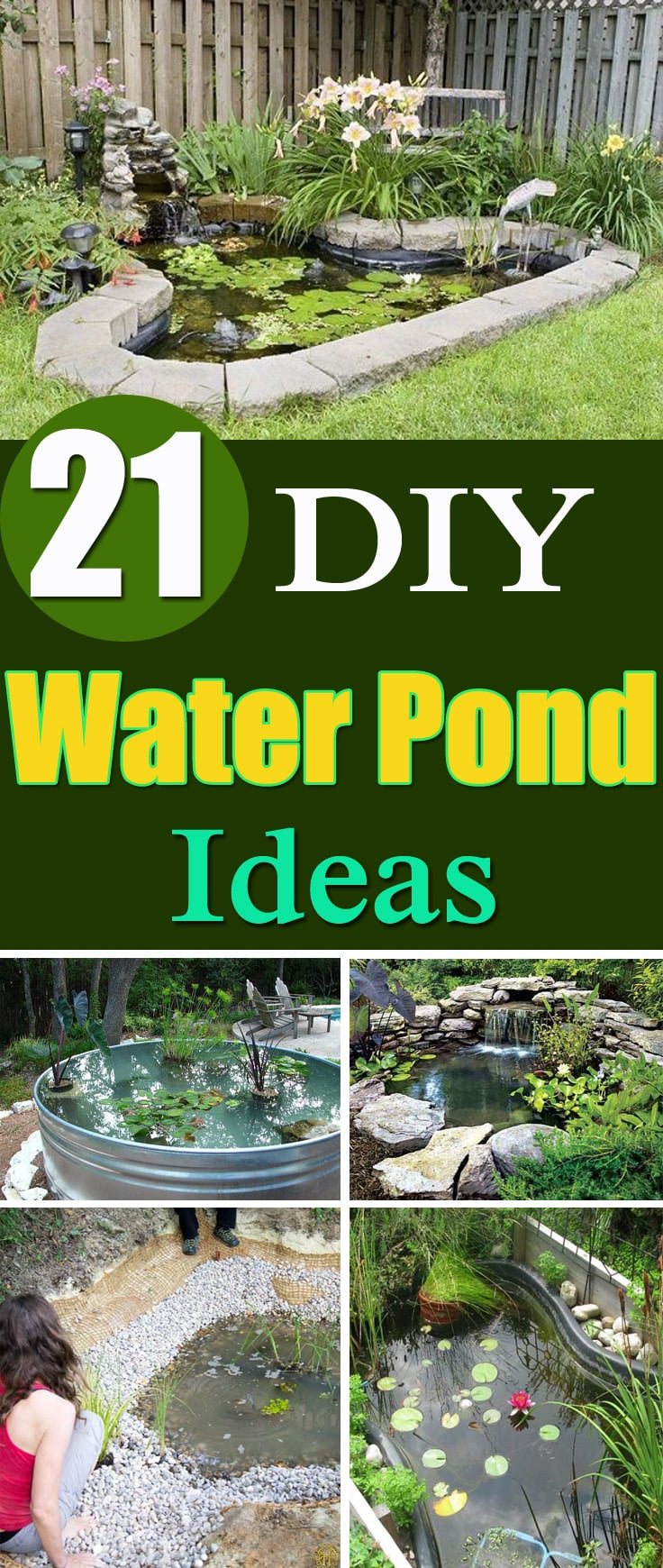 21 DIY Water Pond Ideas | DIY Water Gardens For Backyards ... on Small Backyard Pond id=18418